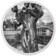 Charles Buddy Bolden - New Orleans - Bw Round Beach Towel