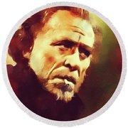Charles Bukowski, Literary Legend Round Beach Towel
