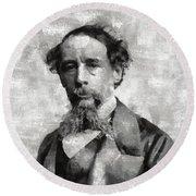 Charles Dickens Author Round Beach Towel