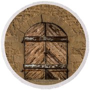 Charles Goodnight Barn Doors Round Beach Towel