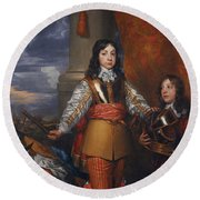 Charles II - King Of Scots And King Of England Round Beach Towel