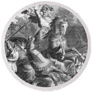 Charles Martel, Battle Of Tours, 732 Round Beach Towel