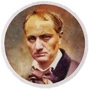 Charles Pierre Baudelaire, Literary Legend Round Beach Towel
