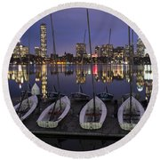 Charles River Boats Clear Water Reflection Round Beach Towel