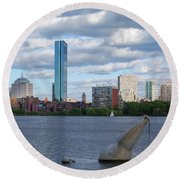 Charles River Boston Ma Crossing The Charles Round Beach Towel
