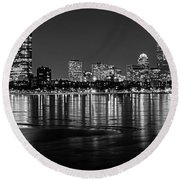 Charles River Boston Ma Prudential Lit Up Not Done New England Patriots Black And White Round Beach Towel