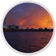 Charles River Vibrant Sunset Boston Ma Round Beach Towel