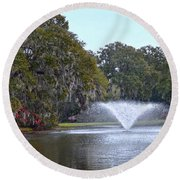 Charles Towne Landing Fountain Round Beach Towel