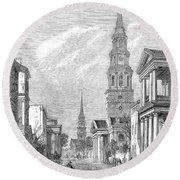 Charleston: Church, 1861 Round Beach Towel