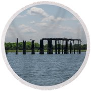 Charleston Export Coal Terminal Wooden Testle Round Beach Towel