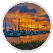 Charleston Marina Sunset  Round Beach Towel