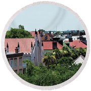 Charleston Rooftops - Queen And Church Streets Round Beach Towel