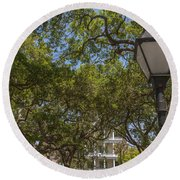 Charleston Through The Tree's Round Beach Towel