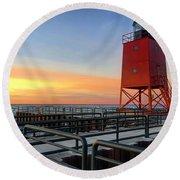 Charlevoix South Pier Lightstation Round Beach Towel