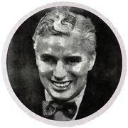 Charlie Chaplin Hollywood Legend Round Beach Towel