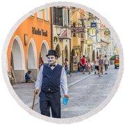 Charlie Chaplin In Innsbruck Round Beach Towel
