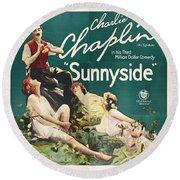 Charlie Chaplin In Sunnyside 1919 Round Beach Towel