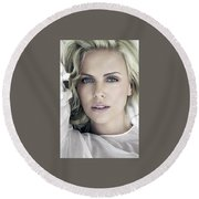 Charlize Theron Blue Eyed Blonde Blouse Celebrity Hollywood 31116 640x960 Round Beach Towel
