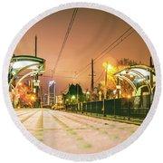 Charlotte City Skyline Night Scene With Light Rail System Lynx T Round Beach Towel