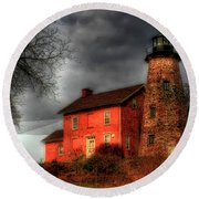 Charlotte-genesee Lighthouse  Round Beach Towel by Joel Witmeyer