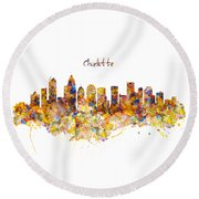 Charlotte Watercolor Skyline Round Beach Towel