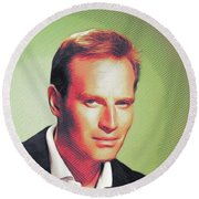 Charlton Heston, Hollywood Legends Round Beach Towel