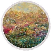 Charming Chasms Series Fall Frolic Round Beach Towel