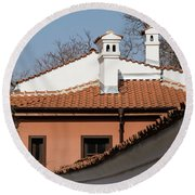 Charming Chimneys - White Stucco And Terracotta Juxtaposition Round Beach Towel