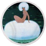 Charming Vintage Powder Puff Woman Fashion Art, 1920s Round Beach Towel