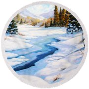 Charming Winter Round Beach Towel