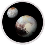 Charon And Pluto Enhanced Round Beach Towel