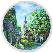 Chartres Afternoon Round Beach Towel