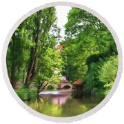 Chartres, France, Park On L'eure River Round Beach Towel