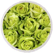 Chartreuse Colored Roses Round Beach Towel