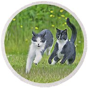 Chase Me Round Beach Towel