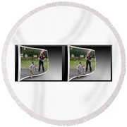 Chasing Bubbles - Gently Cross Your Eyes And Focus On The Middle Image Round Beach Towel