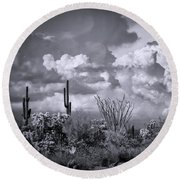 Chasing Clouds Again In Black And White  Round Beach Towel