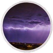 Chasing Nebraska Lightning 035 Round Beach Towel