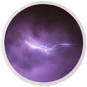 Chasing Nebraska Lightning 041 Round Beach Towel