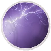 Chasing Nebraska Lightning 043 Round Beach Towel