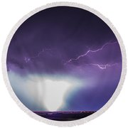 Chasing Nebraska Lightning 045 Round Beach Towel