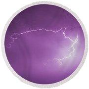 Chasing Nebraska Lightning 047 Round Beach Towel