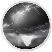 Chasing Nebraska Lightning 052 Round Beach Towel