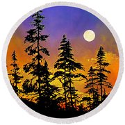Chasing The Moon Round Beach Towel
