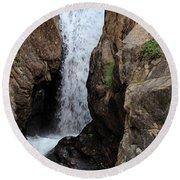 Chasm Falls 2 - Panorama Round Beach Towel