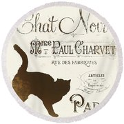 Chat Noir Paris Round Beach Towel
