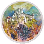 Chateau Cathare De Puylaurens 01 - France Round Beach Towel
