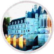 Chateau De Chenonceau Round Beach Towel