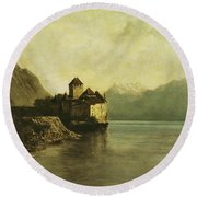 Chateau De Chillon Round Beach Towel by Gustave Courbet