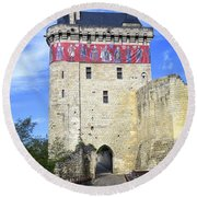 Chateau De Chinon Round Beach Towel